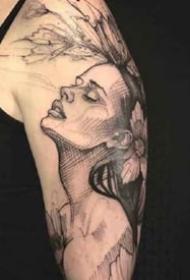 人像素描纹身--黑色调的一组人物素描纹身图案9张