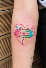 女孩子喜歡的紅粉色簡約小清新紋身圖案