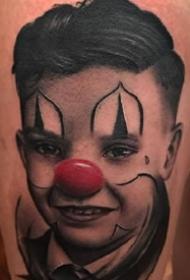 欧美风格的一组写实红鼻子小丑肖像纹身图案