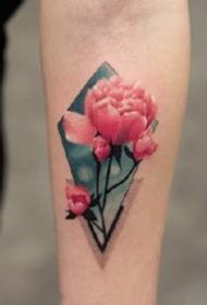几何和水彩一起搭配的彩色纹身作品图案