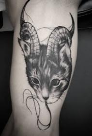 黑化了的一組9張暗黑貓咪紋身圖案作品