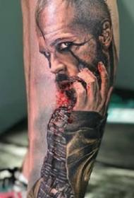 欧美风格的一组暗色调写实人物肖像纹身作品图片
