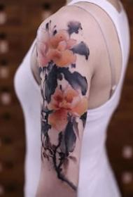 泼墨风格的国画题材tattoo纹身作品图案