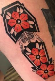 红色调的国外棺材图形的纹身图案作品9张