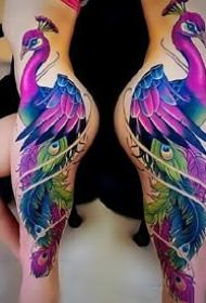 大幅的彩色孔雀紋身圖案作品9張