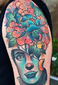 一组重彩色的大臂欧美彩色纹身图案作品