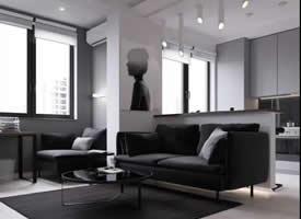 45平米極簡黑色調單身公寓裝修效果圖