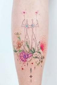 小清新彩色小图纹身:适合女生的简约彩色小清新纹身图案