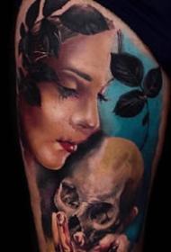 重彩色的一组欧美写实人物肖像纹身图案9张