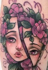 关于女孩子的一组小彩色女生纹身图案