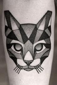 點刺風格的一組黑色小貓紋身圖案欣賞