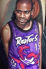 国外篮球平安彩票导航网的一组写实肖像纹身图案