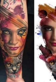 水彩风格的一组写实纹身作品图片9张