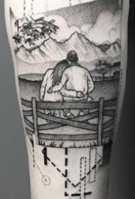 手臂黑灰点刺纹身:黑灰点刺风格的9张手臂纹身图案