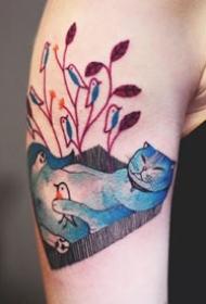 貓紋身:關于貓的的一組可愛的貓紋身圖案