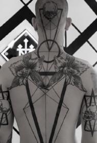 张线条组成的个性几何图形纹身图案