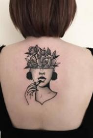 黑灰女郎+点刺风格的一组女郎黑灰纹身图案