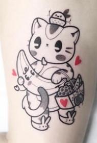 很可爱的一组带爱心的卡通小动物纹身图片