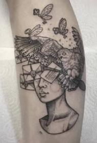 很有创意的一组趣味黑灰插画纹身图