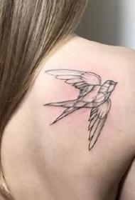 燕子刺青+简约又好看的黑灰燕子纹身图案欣赏
