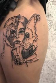 线条重叠的一组个性双生线条纹身图案