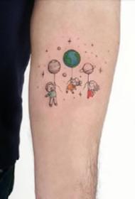 很有童趣的一组卡通小彩图纹身图案