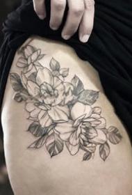 一组扫针花卉植物纹身素花图片
