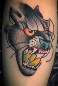 黑灰色oldschool風格豹子頭紋身圖案