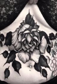 深黑色的一组点刺花卉纹身图片