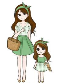 一組小女孩和媽媽的親子裝插畫設計