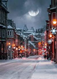一组圣诞雪景的晚上拍摄图片欣赏