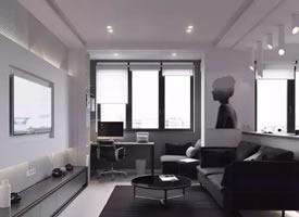 45平米極簡色調單身公寓裝修效果圖