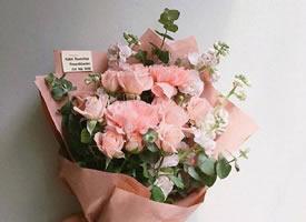 一组少女心粉粉的花束图片欣赏