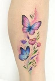 小清新的一組彩色蝴蝶紋身圖案