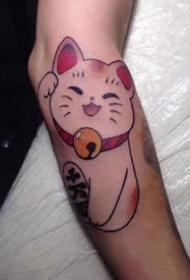很可爱的的一组小招财猫纹身图案