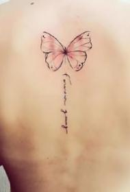 適合女生的一組小清新彩色小蝴蝶紋身圖