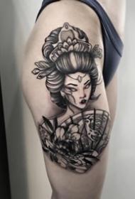 個性的一組日本藝妓紋身圖案9張
