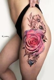 9张重彩色写实玫瑰花朵纹身图案