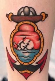 old school风格的一组船锚纹身图案