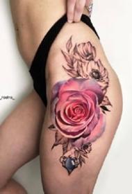 9张娇艳欲滴的的大红玫瑰纹身图案