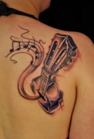 9张适合吉他手的吉他纹身图案