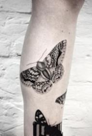 簡約的一組黑色蝴蝶紋身圖片欣賞