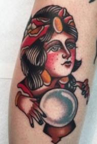 old school风格的红色女郎纹身图片