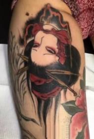 日式生首的一组彩色小图纹身作品