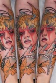 new school的包大臂漂亮小姐姐纹身作品图案