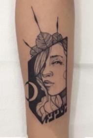 黑灰色调创意抽象的女生头像纹身