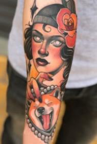 彩色的一组欧美newschool女郎纹身图案