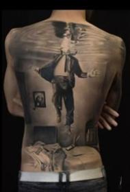9張霸氣的歐美大滿背寫實黑灰紋身圖案