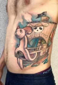 动漫海贼王路飞乔巴艾斯等角色纹身图案