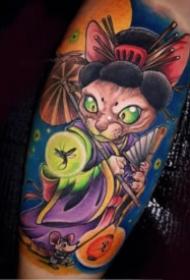 彩色日式新传统风格的卡通纹身图案